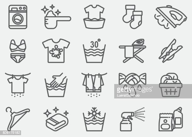 laundry line icons - laundry stock illustrations