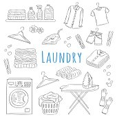 Laundry service hand drawn doodle icons set, vector illustration