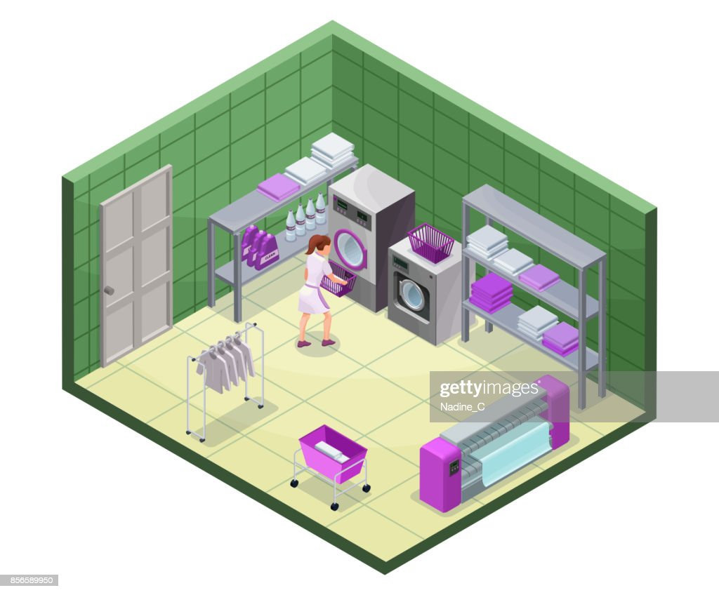 Laundry service isometric 3d illustration with washing and ironing machines, laundress, baskets, detergent, vector interior of clothes cleaning service