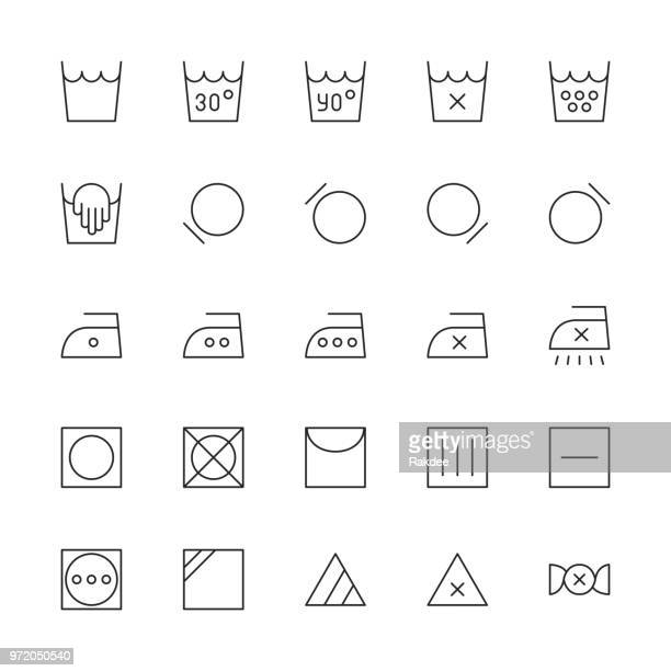 laundry sign icon - thin line series - iron appliance stock illustrations, clip art, cartoons, & icons