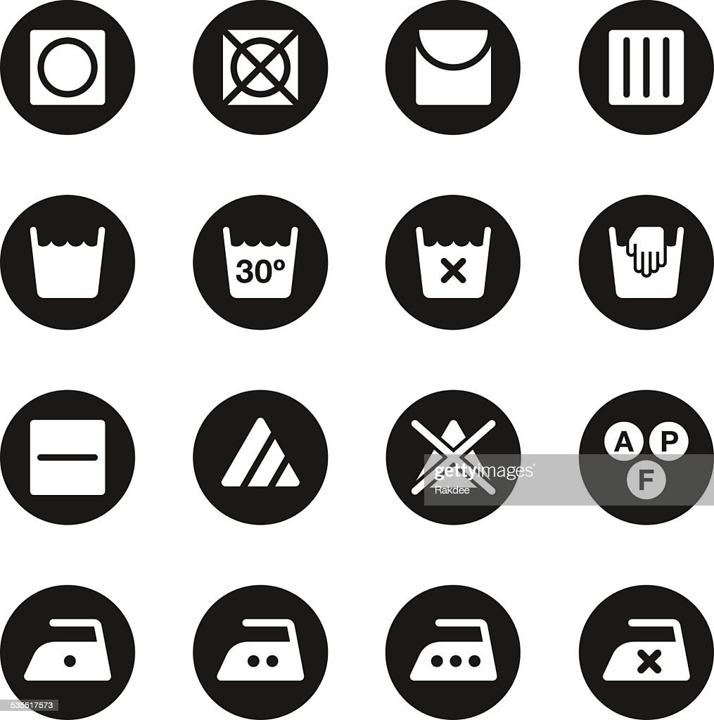 Laundry Sign Icons Set 1 - Black Circle Series