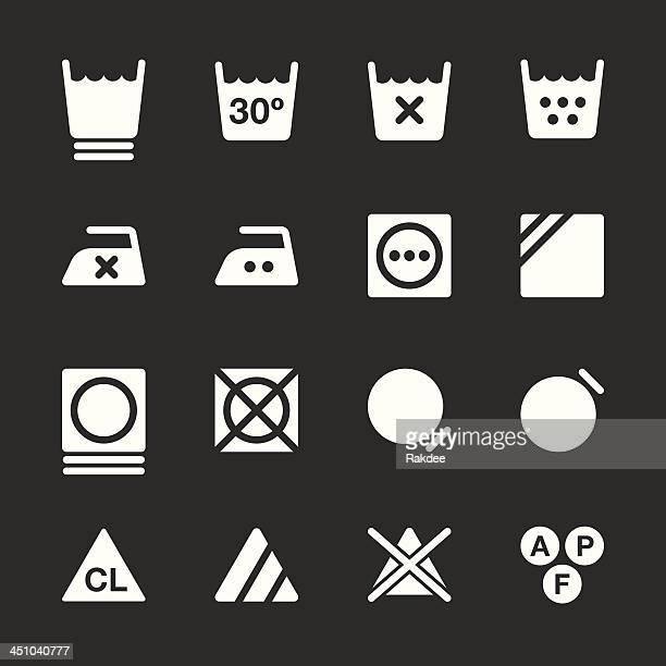 Blanchisserie pour la clientèle Panneau icônes Set 3-Série/Blanc EPS10