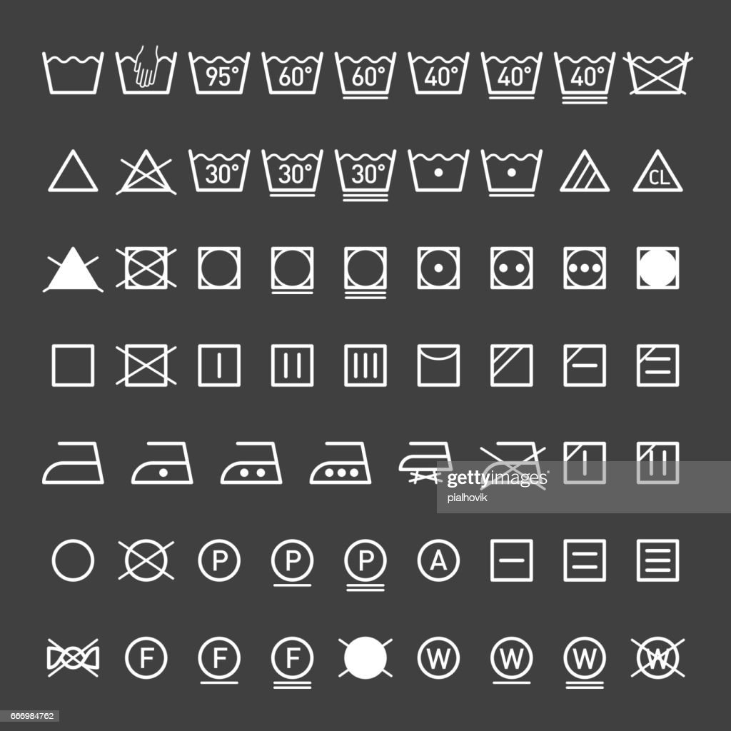 Laundry symbols collection