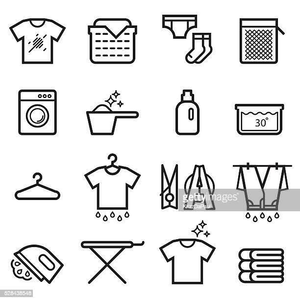 ランドリーの細い線アイコン - シャツ点のイラスト素材/クリップアート素材/マンガ素材/アイコン素材