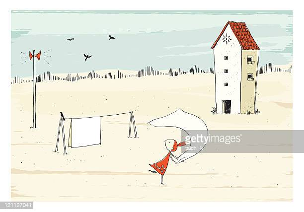 laundry - prairie stock illustrations, clip art, cartoons, & icons