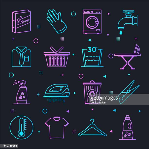 Laundry Washing Ingredients Constellation Line Gradient Vector Icons Set