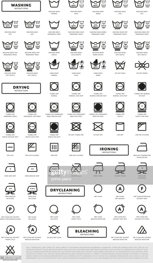 Laundry washing symbols icon set