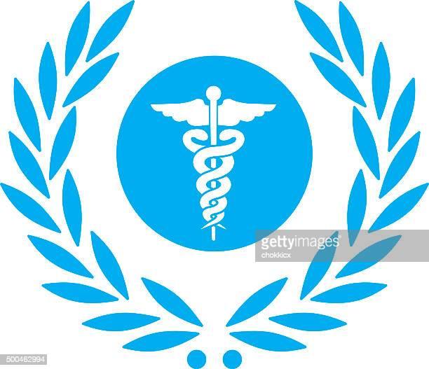 ilustrações, clipart, desenhos animados e ícones de laurel com caduceus símbolo de saúde - símbolo médico