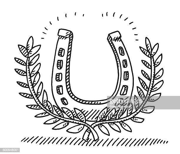 lorbeerkranz horseshoe zeichnung - hufeisen stock-grafiken, -clipart, -cartoons und -symbole
