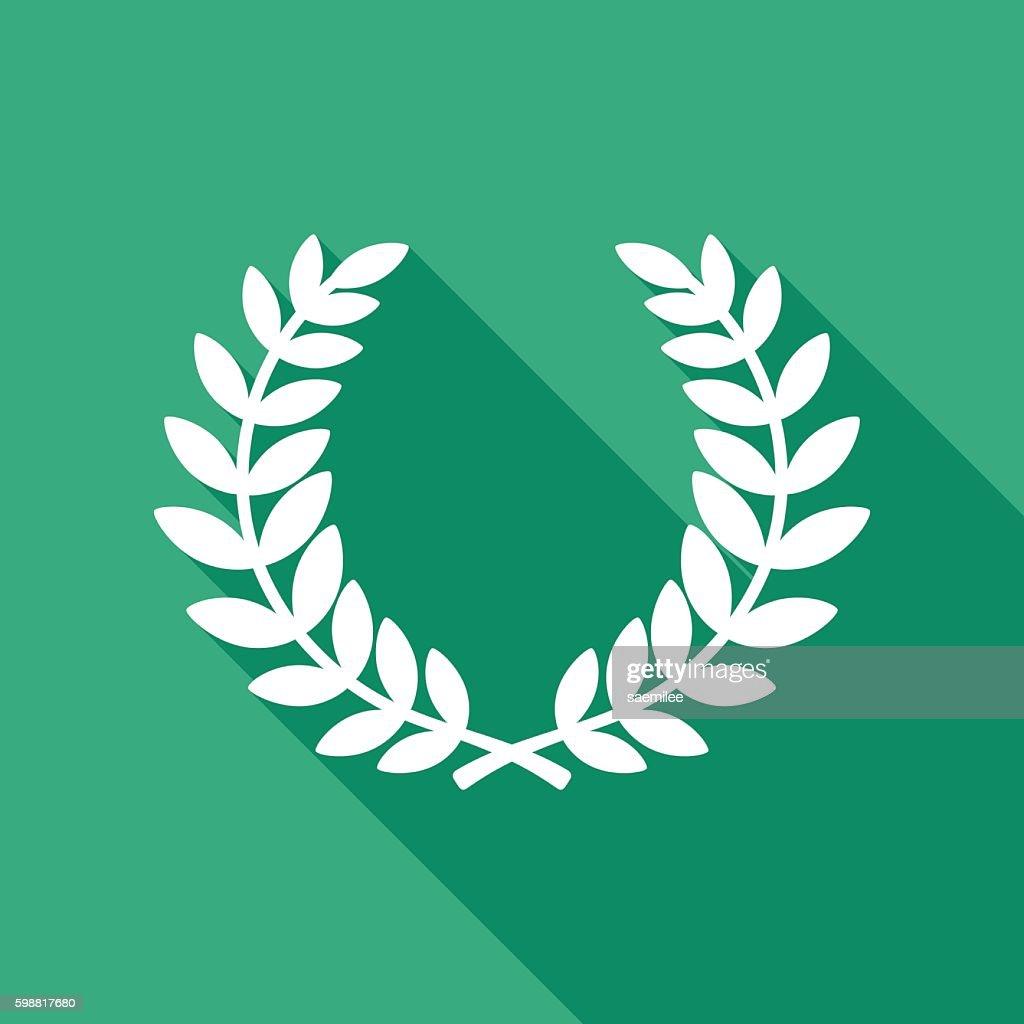 Laurel Wreath Icon White : stock illustration