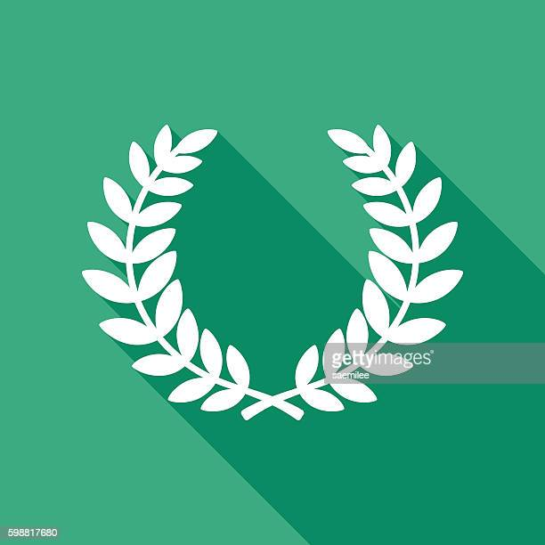 laurel wreath icon white - greek culture stock illustrations, clip art, cartoons, & icons