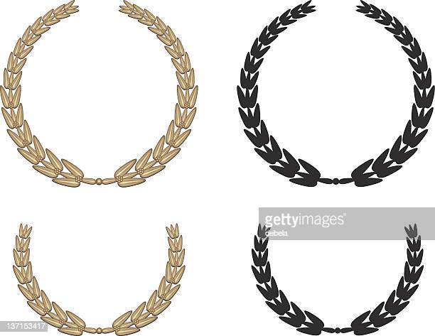 ilustraciones, imágenes clip art, dibujos animados e iconos de stock de corona de laurel en oro - rama de olivo
