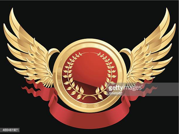 laurel wreath medal with wing - insignia stock illustrations