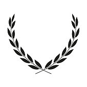 Laurel wreath placed on white. Vector icon illustration.