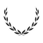 Laurel wreath placed on white. Vector icon.