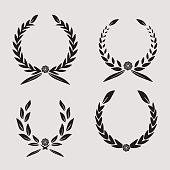 laurel wreath set icon , sports label wreath