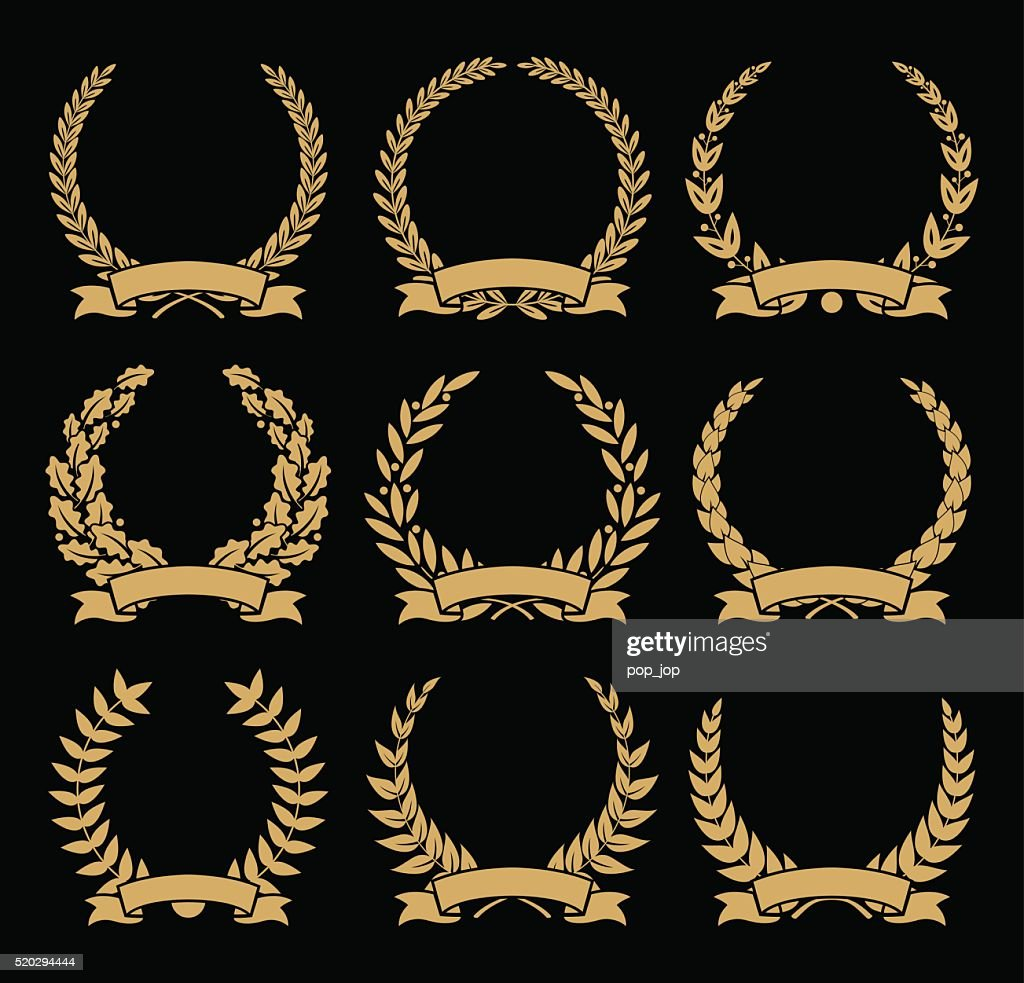 Laurel Wreaths and Ribbons Set - illustration