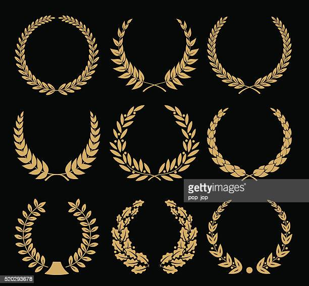 laurel wreaths set - illustration - classical greek style stock illustrations