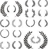 Laurel wreaths vector elements.