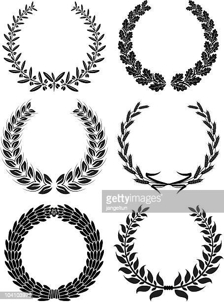 laurel wreaths - oak leaf stock illustrations