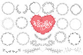 Laurels and wreaths hand drawn vector illustration. Design elements for invitations, greeting cards, quotes, blogs, posters and more, holiday invitations, photo overlays, t-shirt print, flyer,, mug, pillow. Perfect For Wedding Frames