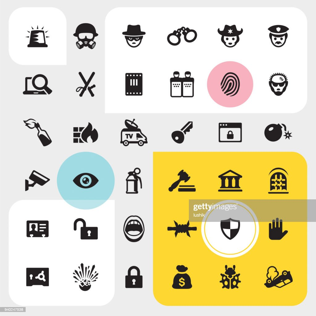Law and Crime icon set : stock illustration