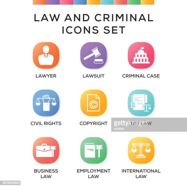 law and criminal icons set on gradient background - arrest stock illustrations, clip art, cartoons, & icons