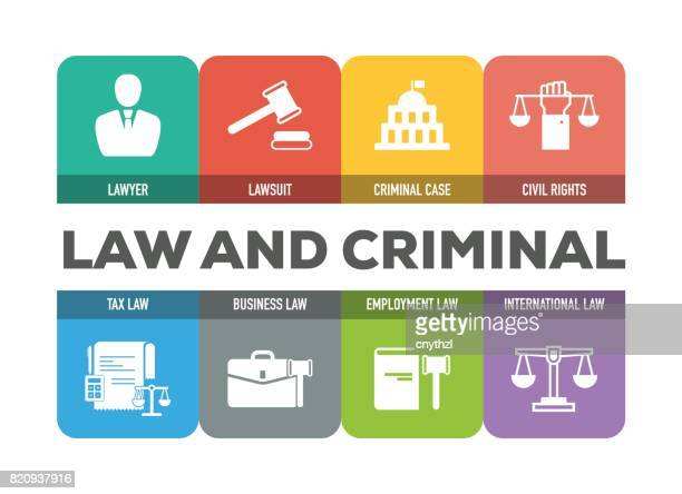 Law and Criminal Icons Set