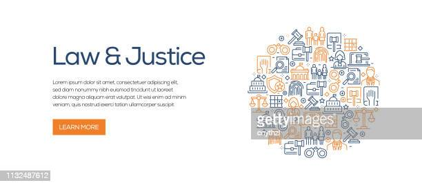 law and justice banner template with line icons. modern vector illustration for advertisement, header, website. - law stock illustrations