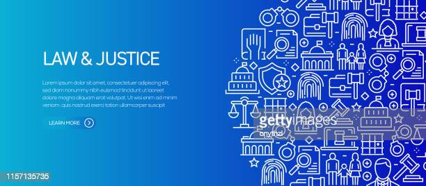 law and justice banner template with line icons. modern vector illustration for advertisement, header, website. - legislation stock illustrations