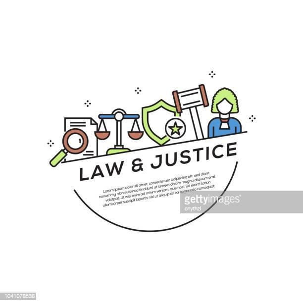law and justice concept flat line icons - criação digital stock illustrations