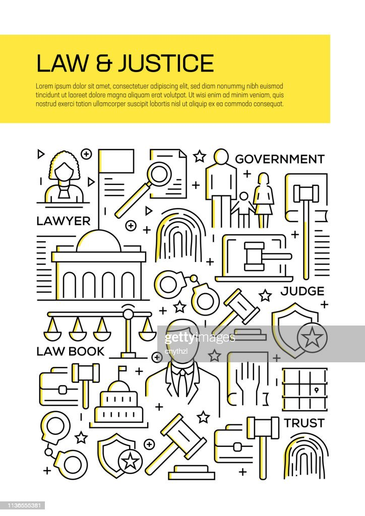 Law and Justice Concept Line Style Cover Design für Geschäftsbericht, Flyer, Broschüre. : Stock-Illustration