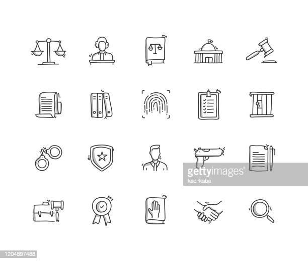 recht und gerechtigkeit hand ziehen linie symbol set - verteidiger jurist stock-grafiken, -clipart, -cartoons und -symbole