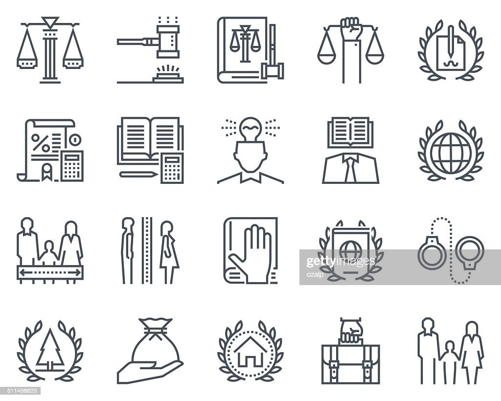 Law and justice icon set
