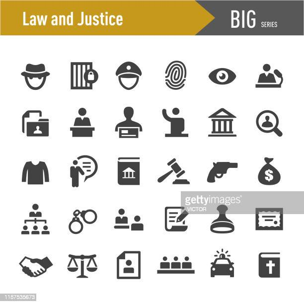 ilustrações de stock, clip art, desenhos animados e ícones de law and justice icons - big series - crime or recreational drug or prison or legal trial
