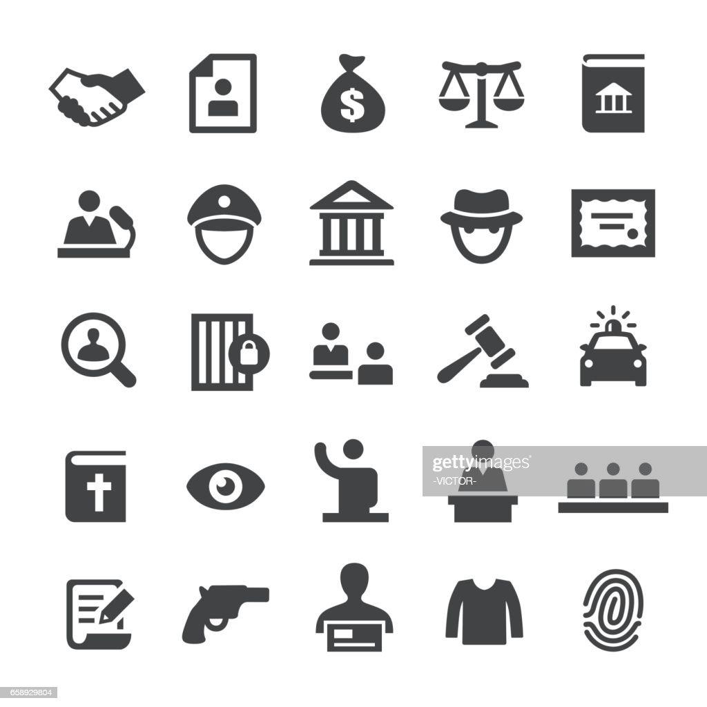 Recht und Gerechtigkeit Ikonen - Smart-Serie : Stock-Illustration