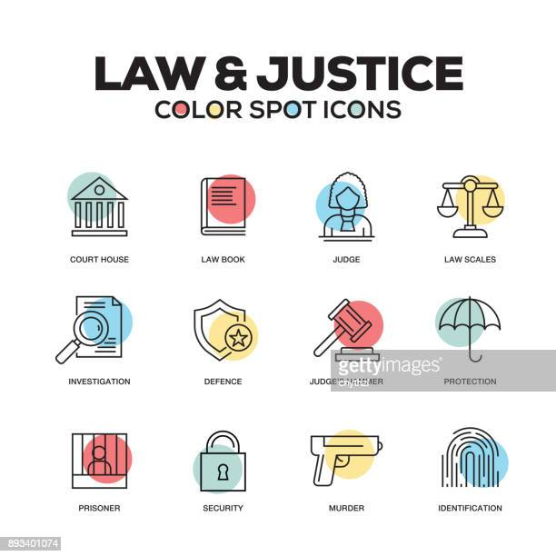 law and justice icons. vector line icons set. premium quality. modern outline symbols and pictograms. - courthouse stock illustrations, clip art, cartoons, & icons