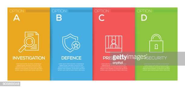 law and justice infographic design template - criação digital stock illustrations