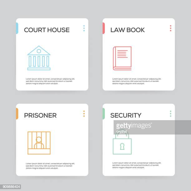 ilustraciones, imágenes clip art, dibujos animados e iconos de stock de ley y justicia infografía diseño plantilla - ojos tapados