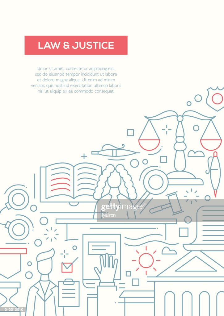 Law and Justice - line design brochure poster template A4