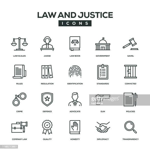 法と正義のラインアイコンセット - 政治と行政点のイラスト素材/クリップアート素材/マンガ素材/アイコン素材