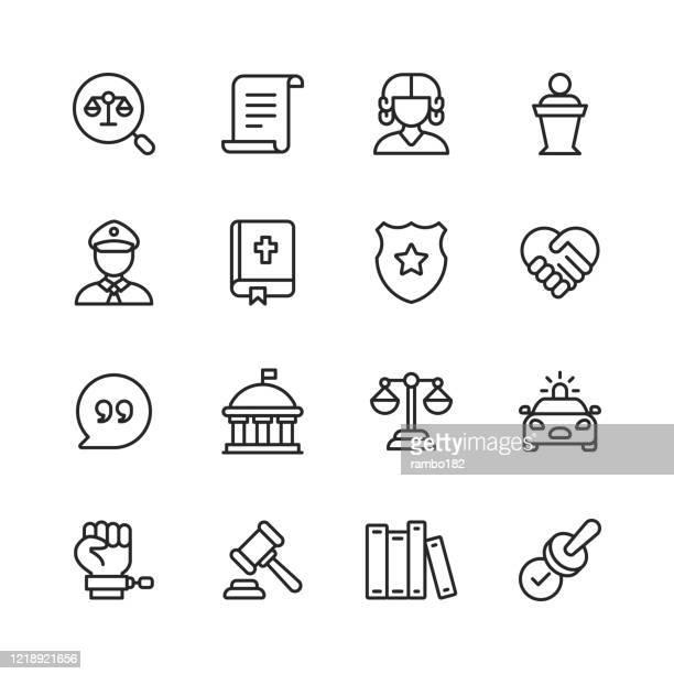 stockillustraties, clipart, cartoons en iconen met recht en justitie lijn iconen. bewerkbare slag. pixel perfect. voor mobiel en web. bevat iconen als recht, justitie, dief, politie, rechter, overeenkomst, overheid, contract, naleving, misdaad, advocaat, bewijs, gevangenis, gelijkheid, rechtssysteem. - hoge raad rechter