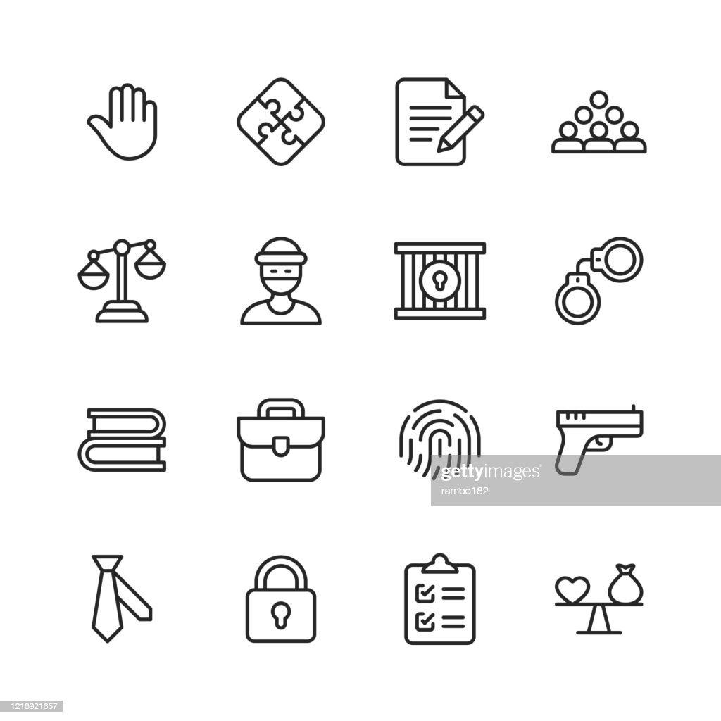 法と正義のラインアイコン。編集可能なストローク。ピクセルパーフェクト。モバイルとウェブ用。法律、正義、泥棒、警察、裁判官、合意、政府、契約、コンプライアンス、犯罪、弁護士� : ストックイラストレーション