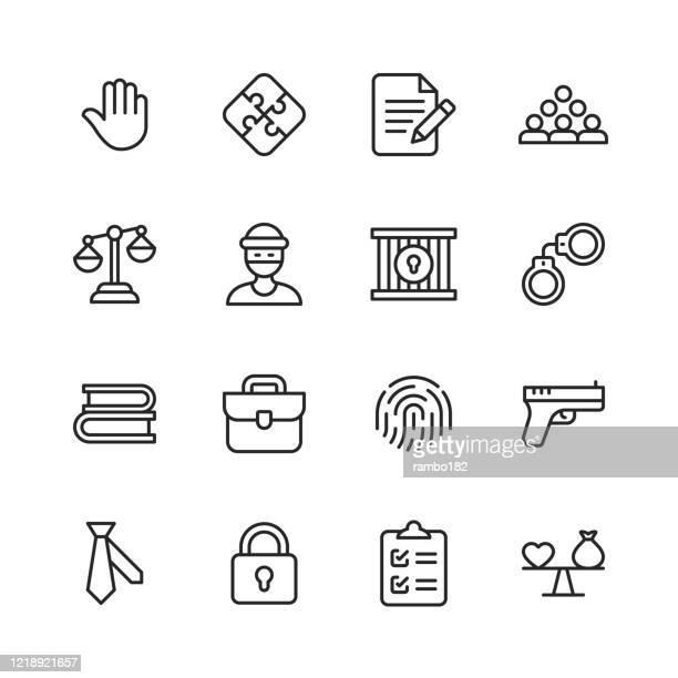 法と正義のラインアイコン。編集可能なストローク。ピクセルパーフェクト。モバイルとウェブ用。法律、正義、泥棒、警察、裁判官、合意、政府、契約、コンプライアンス、犯罪、弁護士� - 最高裁判事点のイラスト素材/クリップアート素材/マンガ素材/アイコン素材
