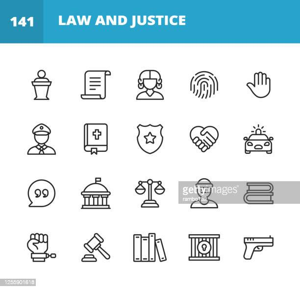 law and justice line icons. editable stroke. pixel perfect. for mobile and web. contains such icons as law, justice, thief, police, judge, agreement, government, contract, compliance, crime, lawyer, evidence, prison, equality, legal system. - politics icon stock illustrations