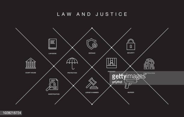 recht und gerechtigkeit linie symbole - verteidiger jurist stock-grafiken, -clipart, -cartoons und -symbole