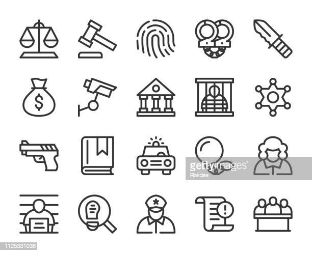 law and justice - line icons - confession law stock illustrations