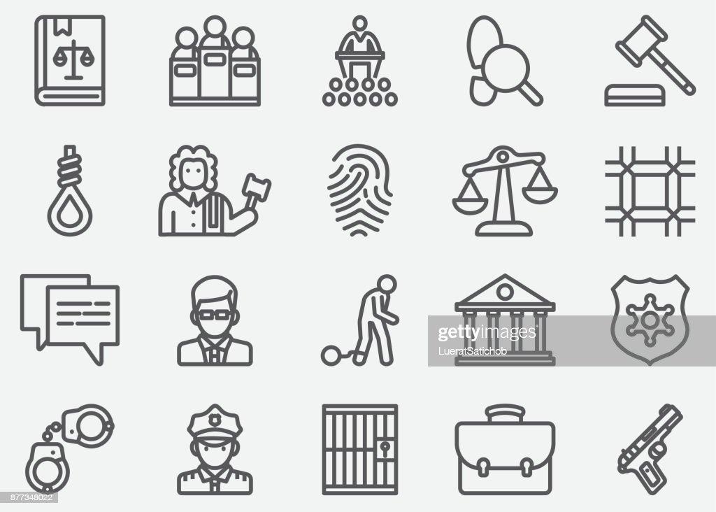 Recht und Gerechtigkeit Linie Symbole : Stock-Illustration
