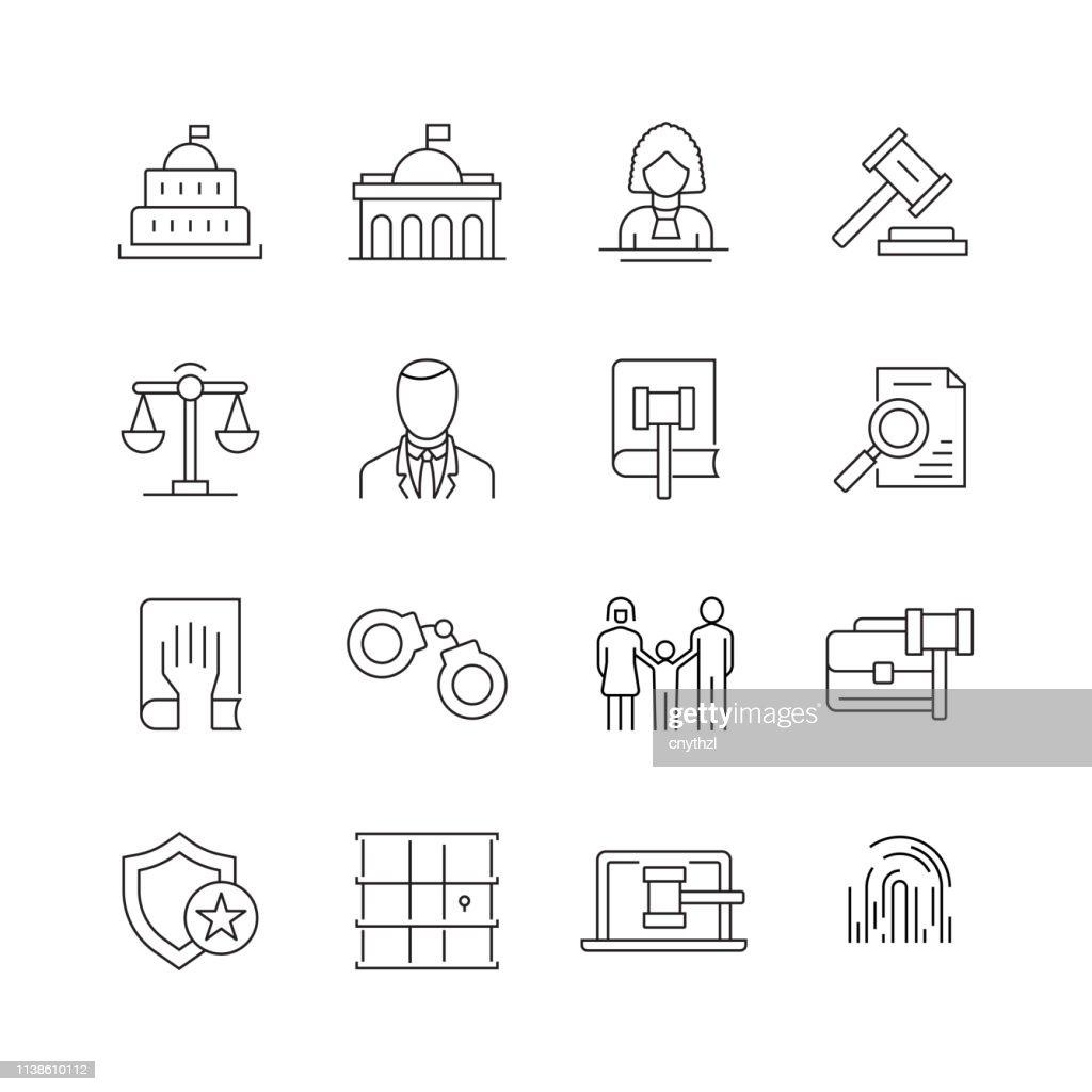 法と正義-細い線のベクトルアイコンのセット : ストックイラストレーション
