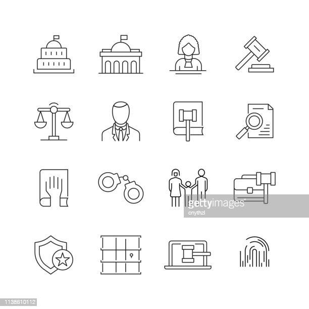 law and justice - set of thin line vector icons - legal defense stock illustrations